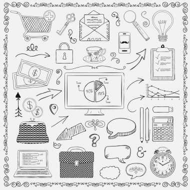 Vector Business Vintage Black Hand Sketched Icons