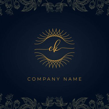 Elegant luxury letter CK logo. This icon incorporate with abstract rounded thin geometric shape in floral background.It will be suitable for which company or brand name start those initial. icon