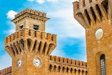 twin medieval towers in an ancient village in Romagna, Italy