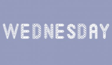 Weekday Wednesday isolated. Ornament vector stock illustration for design. White text weekday wednesday. Isolated illustration with lettering day of the week. Day wednesday