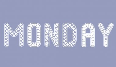 Weekday monday isolated. Ornament vector stock illustration. White text weekday monday. Isolated illustration with lettering day of the week. Weekday for bullet journal, organizer