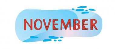 Month of November, isolated text. Doodle vector stock illustration. Text or lettering November as a calendar sticker, bullet journal. Lettering card with autumn month. Vector graphics
