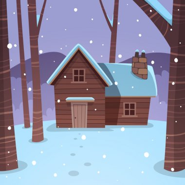 Cartoon illustration of the winter forest landscape with wooden cabin. clip art vector