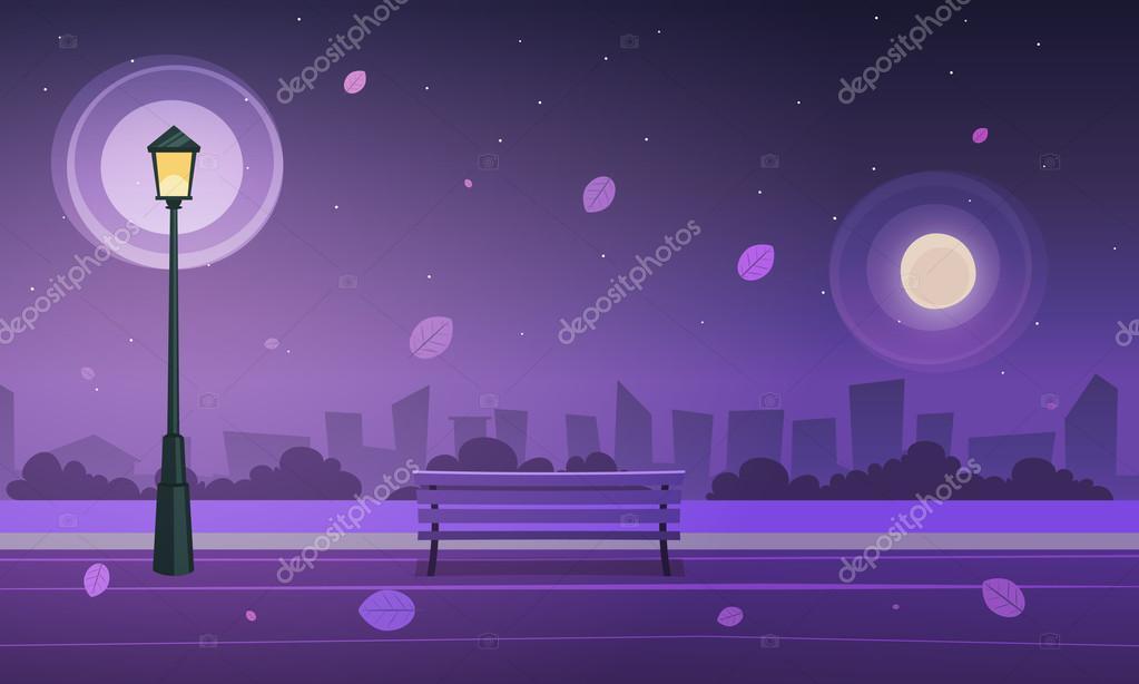 Night in city park