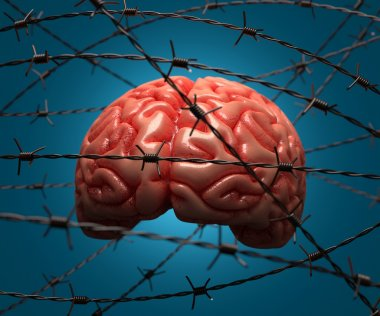 Brain trapped by barbed wire