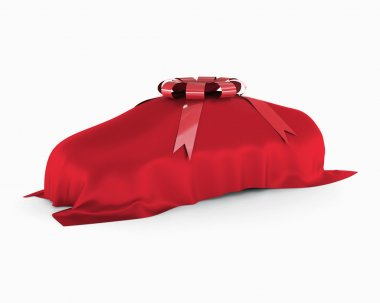 New car covered by a red blanket.