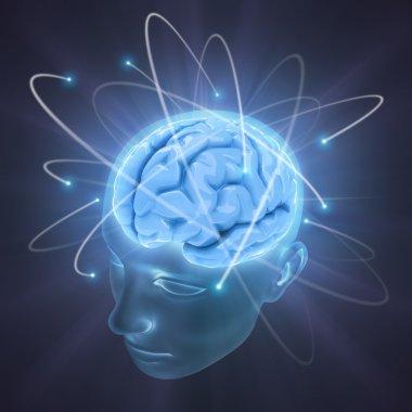 Head illuminated by the energy of the brain
