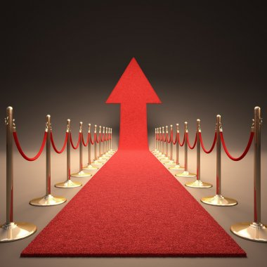 Red carpet arrow-shaped up. Your text next to the arrow. stock vector