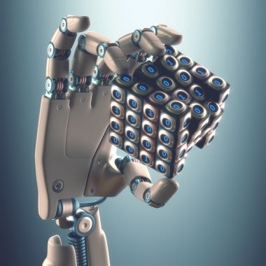 Robot hand holding a binary cube