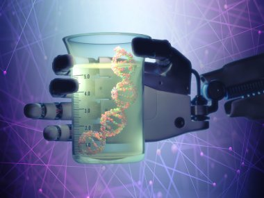 Robotic hand holding a test tube with a dna