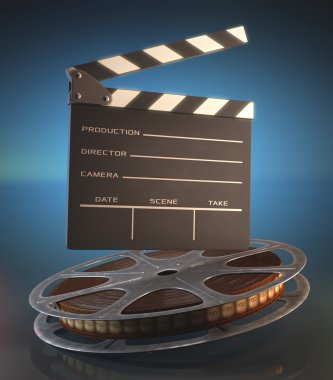 Clapperboard and roll of film