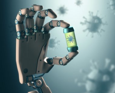 Robotic hand manipulating virus
