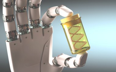 Robotic hand holding test tube