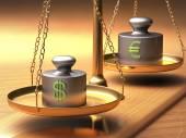Váhy spravedlnosti o hmotnosti dvou měn