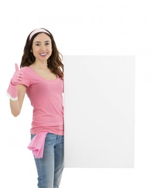 Spring cleaning woman holding an advertising poster and giving t