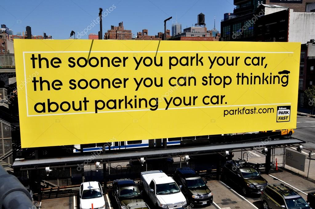 NYC: Parking Lot Advertising Sign – Stock Editorial Photo