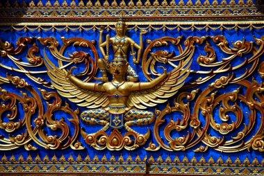 Kanchanaburi, Thailand: Designs on Thai Temple Tympanum