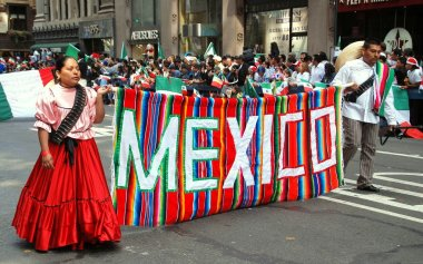 NYC: Marchers in Mexican Independence Day Parade