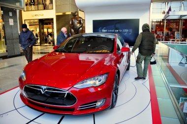 NYC:  People Viewing Tesla Automobile