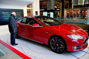 NYC: Tesla Automobile Display at Time-Warner Center