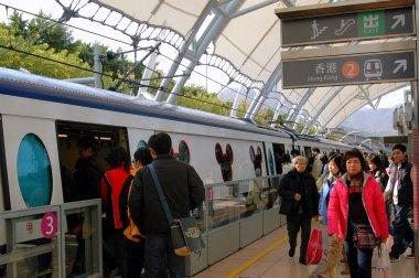 Hong Kong, China: Boarding Disneyland Express Train