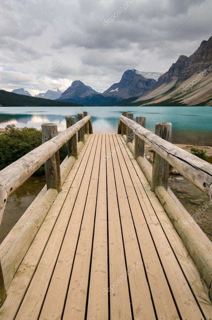 Wooden bridge on Bow Lake