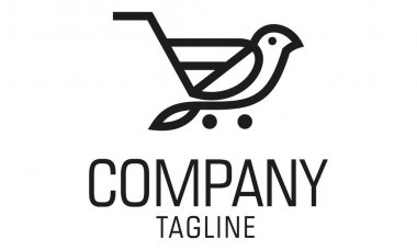 Black Color Simple Line Art Bird Shopping Cart Logo Design icon