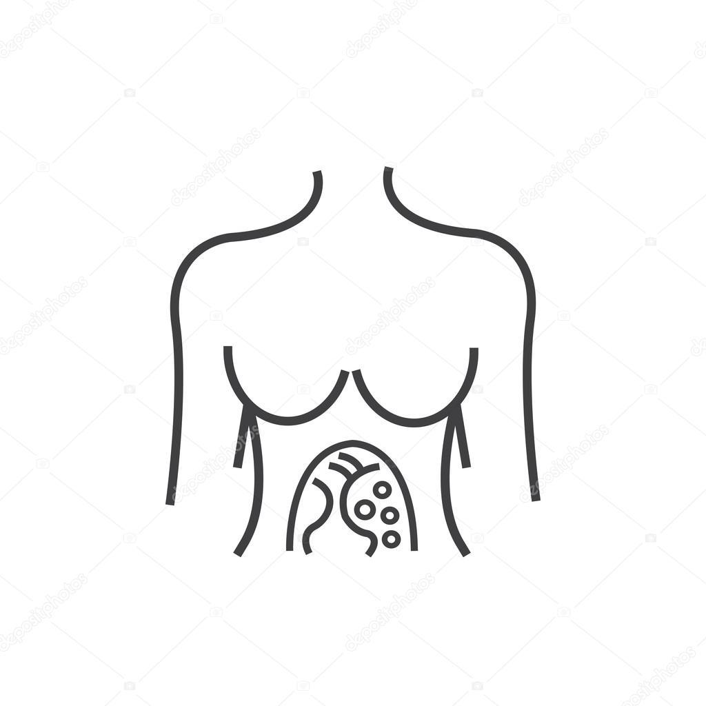 Línea a mujer icono anatomía del icono de exploración del cáncer de ...