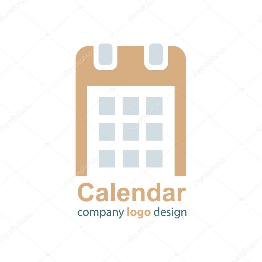 カレンダーのロゴ ブラウン ベクトル スタイル ストックベクター