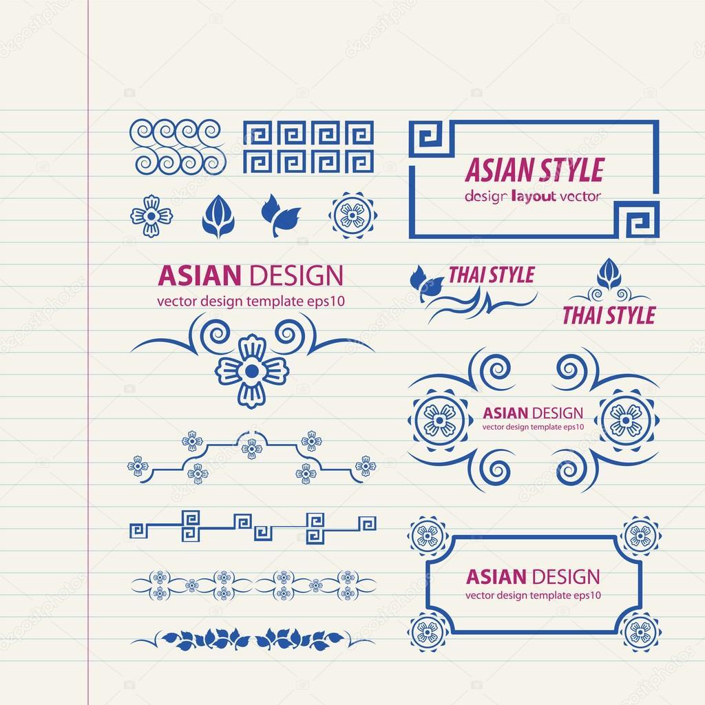 Asiatischen Stil verzierten Rahmen zeichnen — Stockvektor © foxroar ...
