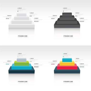 Business Infographics pyramid cube set