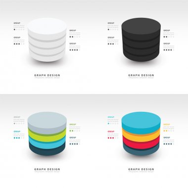 Modern Infographics template cylinder vector set