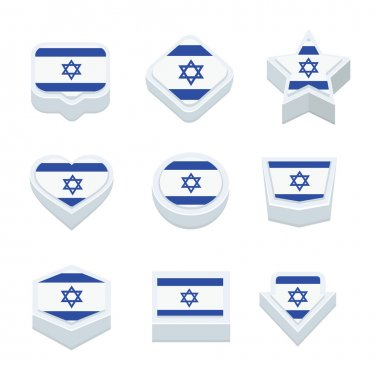 israel flags icons and button set nine styles