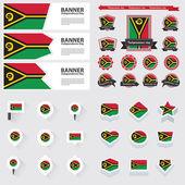 Den nezávislosti Vanuatu, infographic a label soubor