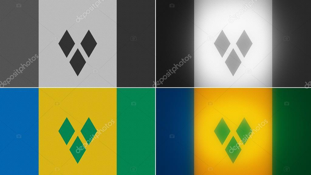 St vincent & the grenadines flag backgrounds styles set