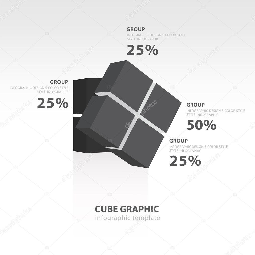 キューブ インフォ グラフィック テンプレート ブラック カラー バランス