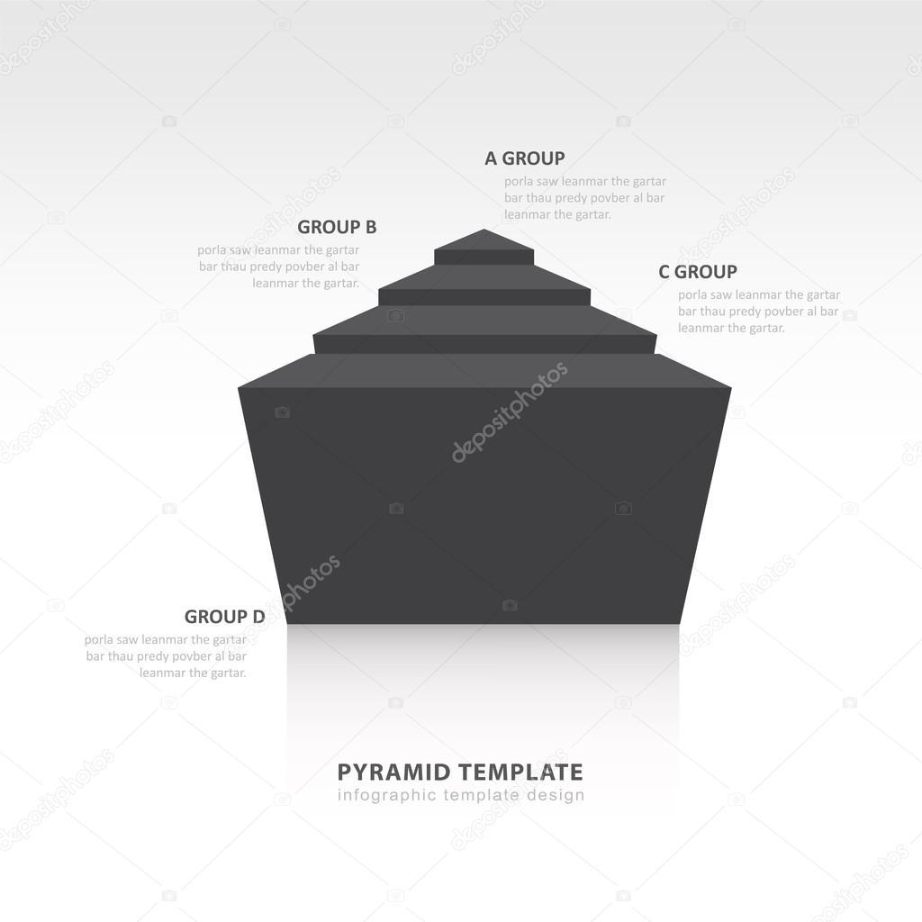 pyramid infographic template design black color balance — Stock ...
