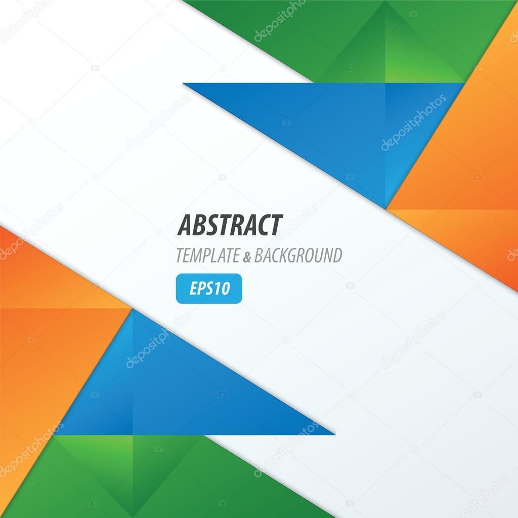 polígonos de diseño plantilla verde, naranja, azul — Vector de stock ...