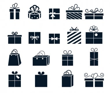 Gift wrapping. Vector icons with boxes. Gifts for birthday and holiday. icon