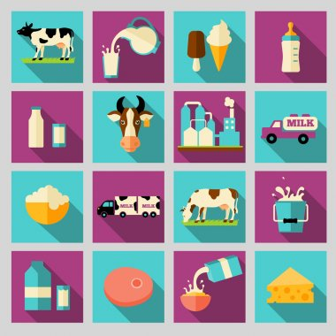 Set of icons for milk. Dairy products, production, range.