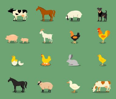 Farm animals set in flat vector style.