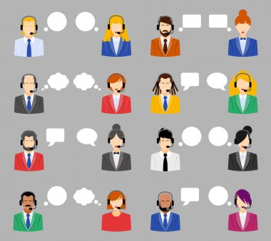 Call center operators, female and male avatar icons. Vector illustration, flat style