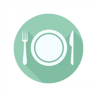 Flat Dinner Plate with Knife and Fork stock vector