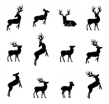 Vector illustration of collection of deers silhouette stock vector