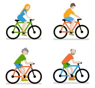 Cyclists riding bike set