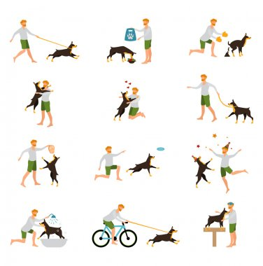 Man Dog Training Playing Pet Stick .