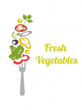 Fresh mixed vegetables on fork. Logo design vector template. Logotype concept icon.