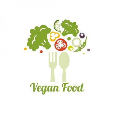 Vegetarian food symbol. Creative logo design concept for healthy food.