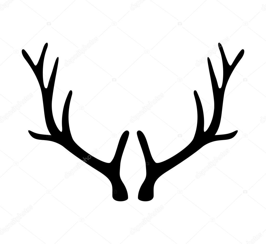 Bois de cerf ic ne de cornes isol sur fond blanc image - Dessin bois de cerf ...