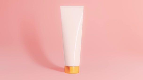 kozmetikai edények arany elem játék a fény rózsaszín háttér, közelkép,
